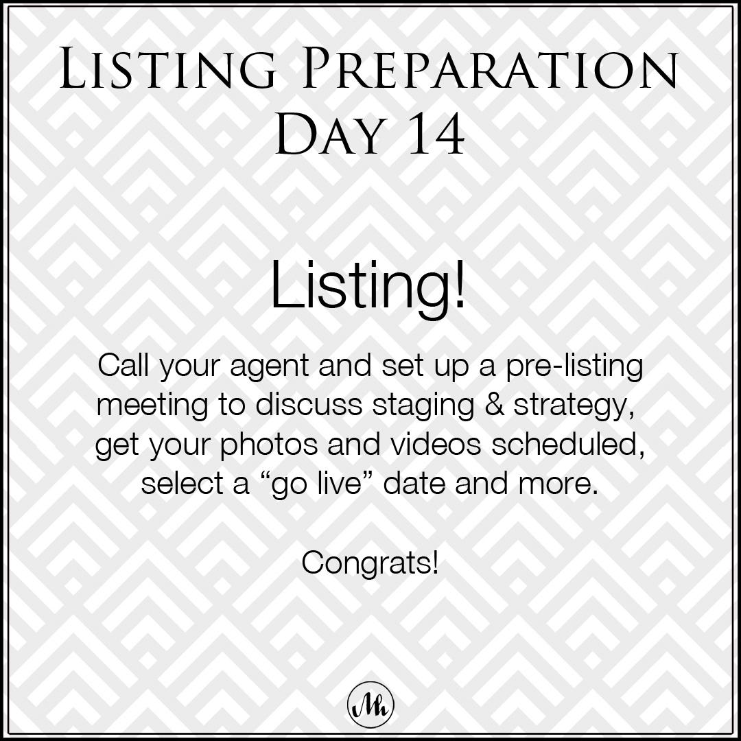 Listing Preparation Day 14